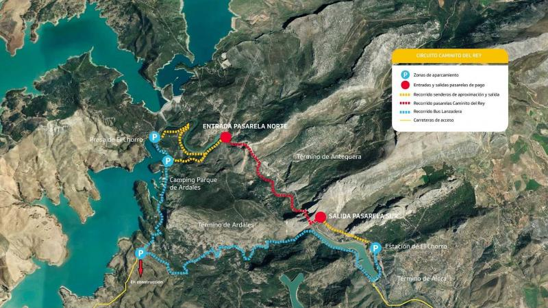 Logistics and Hiking Time - El Caminito del Rey Path ... on map of cudillero, map of getxo, map of puerto rico gran canaria, map of bizkaia, map of penedes, map of macapa, map of monchengladbach, map of sagunto, map of graysville, map of tampere, map of mount ephraim, map of venice marco polo, map of marsala, map of iruna, map of italica, map of costa de la luz, map of soria, map of andalucia, map of isla margarita, map of mutare,