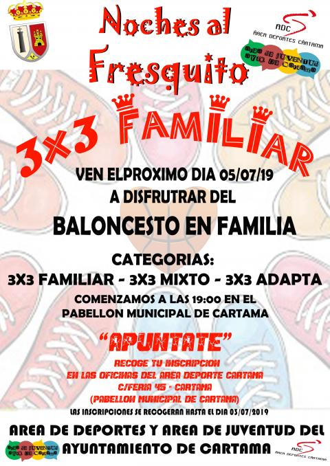 Cartel jornada baloncesto familiar 3x3 Cártama 050719
