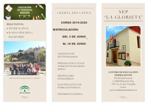 Image. Oferta Educativa SEP La Glorieta 2019-20