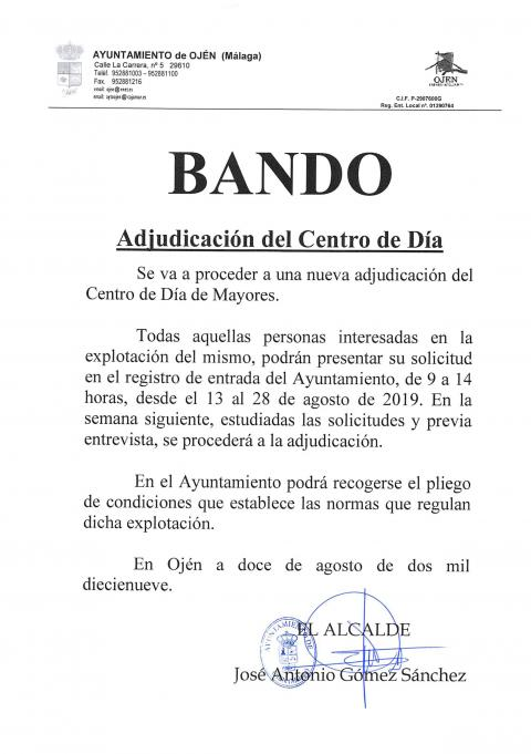 BANDO adjudicacion bar jubilados