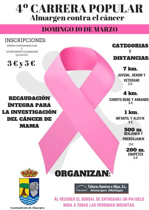 Cartel 4º carrera popular ALMARGEN CONTRA EL CÁNCER