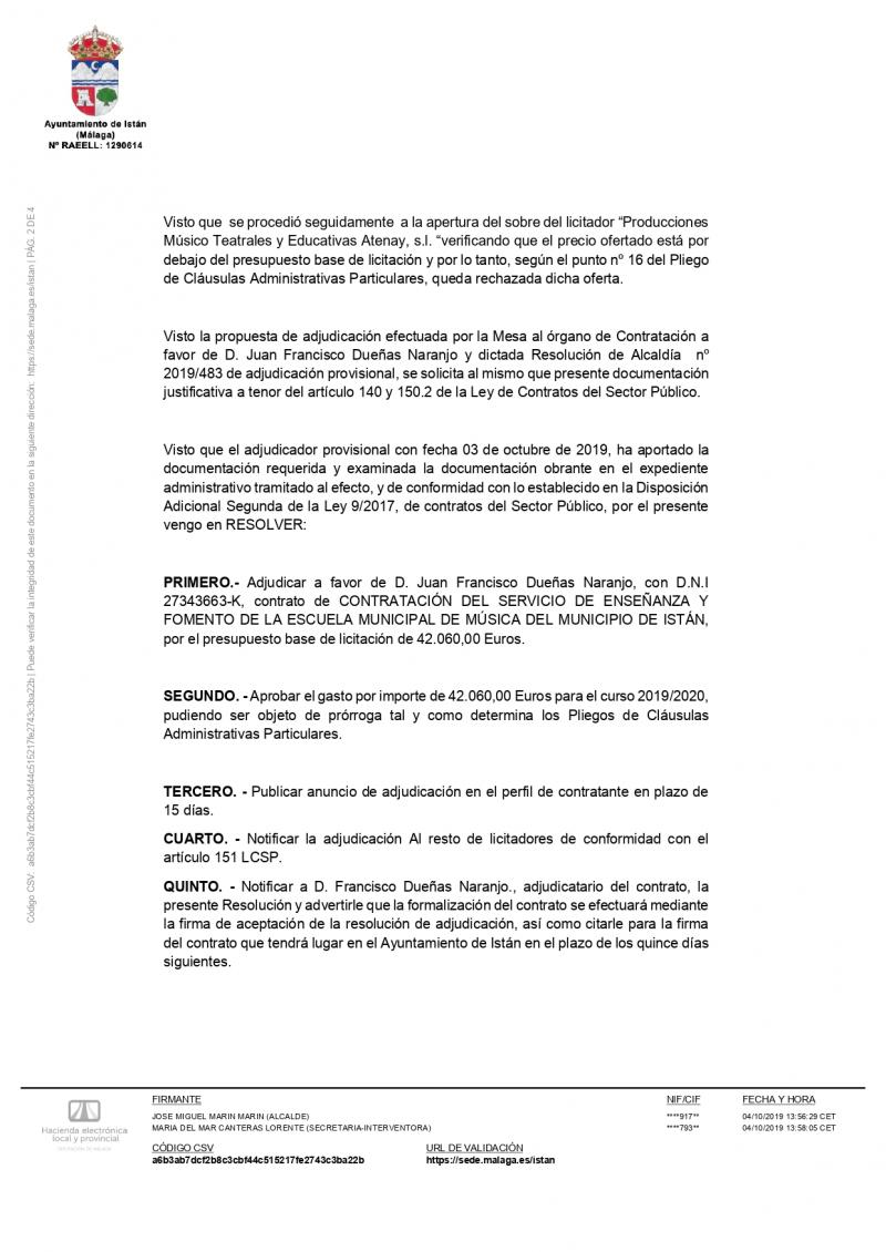 Imagen de Municipal music school service contract